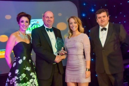 Puffin Produce's Megan collecting 'Agricultural Business of the Year 2017' award.