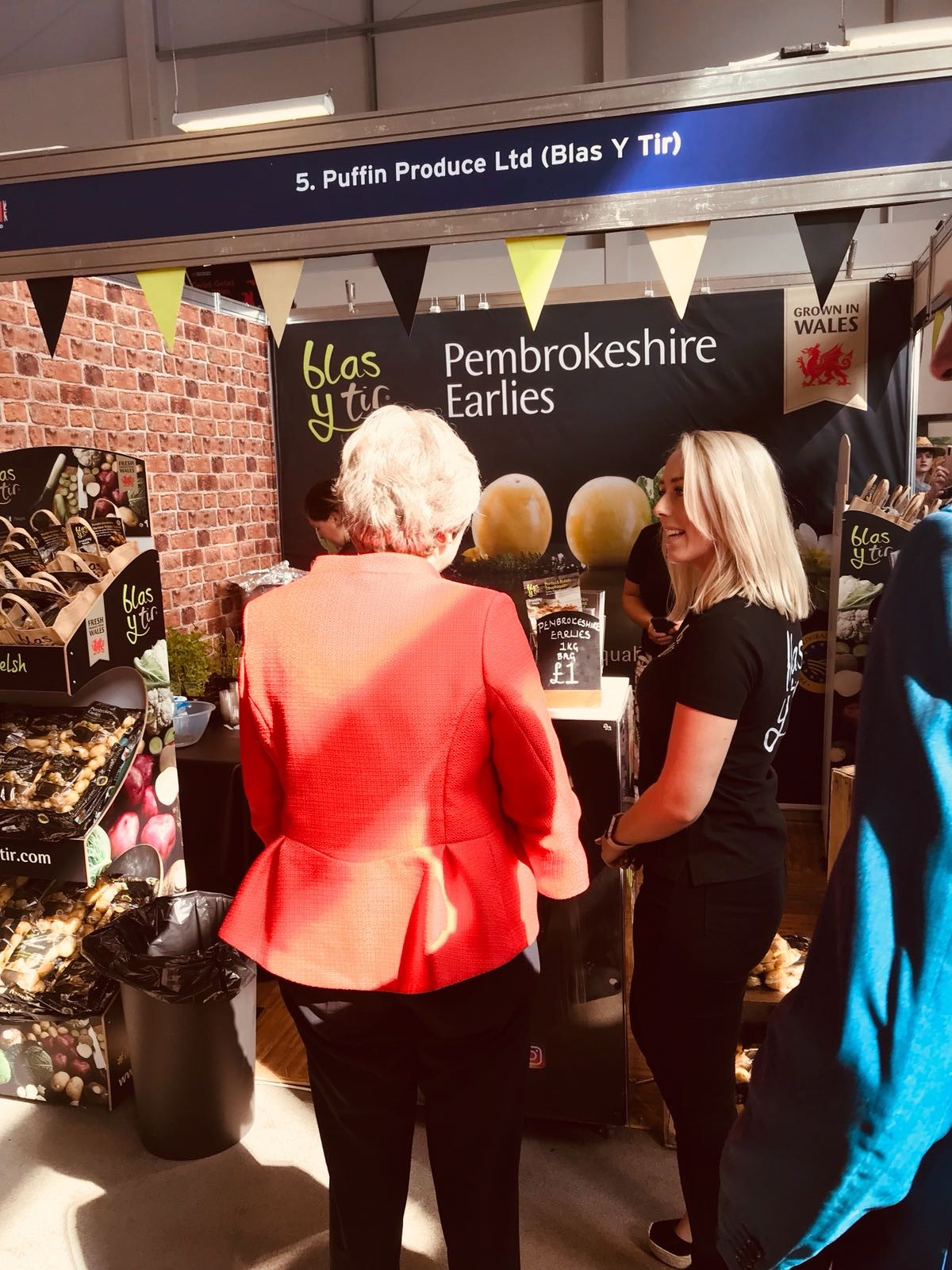 Theresa May visits the Blas y Tir Stand at the Royal Welsh Show 2018